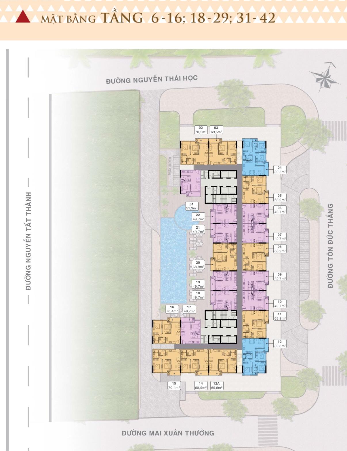 dự án grand center quy nhơn - mặt bằng căn hộ